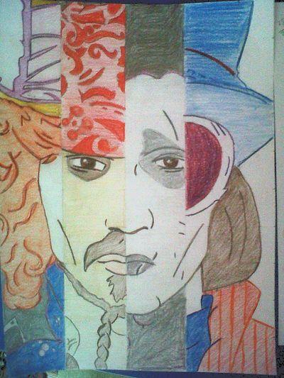 Johnnydepp Charlieandthechocolatefactory Edwardscissorhands Pirates Of The Caribbean Aliceinwonderland Madhatter JackSparrow Charlie Drawing