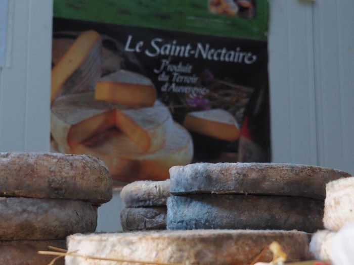Saint-Nectaire Cheese Saint-nectaire French Cheese Cheese Text No People Day Stack Indoors  Close-up
