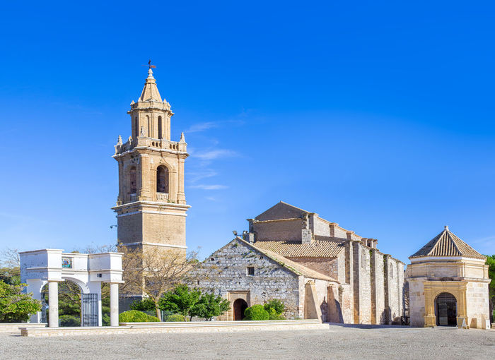 Church of Santa María la Mayor in Estepa, province of Seville. Charming white village in Andalusia. Southern Spain. Picturesque travel destination on Spain. Estepa Sevilla Estepa SPAIN Seville Tourism White Villages Sun Sky Europe Cityscape Andalusia Andalusian Architecture City Town Village Andalucía Travel Travel Destinations Blue Architecture Tower Summer Outdoors European  Tourist Mediterranean  Traveler Beautiful Province Street Spanish Traditional Destination Vacations Landmark