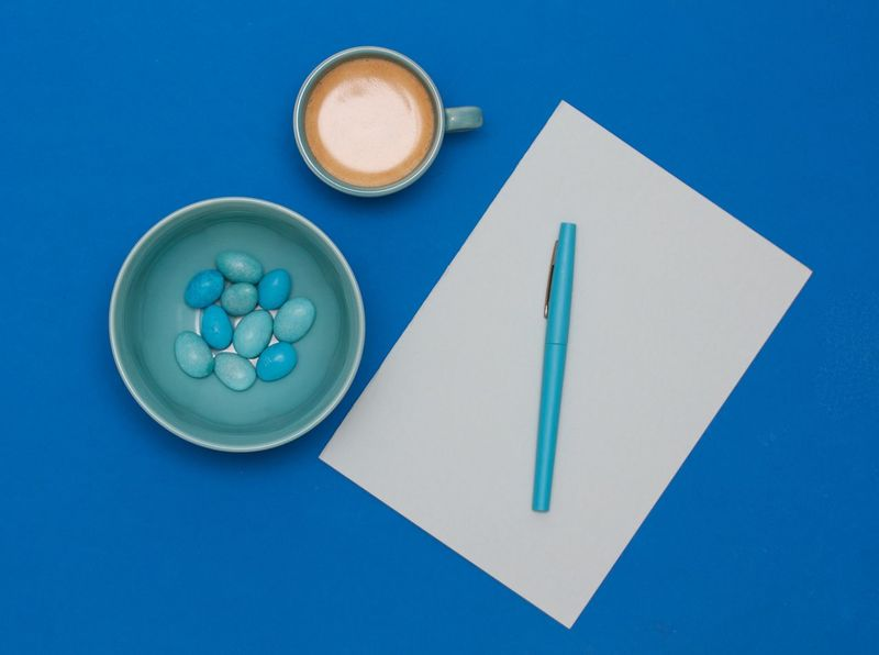 Coffee + sugar = ideas on the paper Blue Blue Pen Blue Table Chocolate Close-up Coffee Day Design Desktop Food Food And Drink No People Office Paper Table