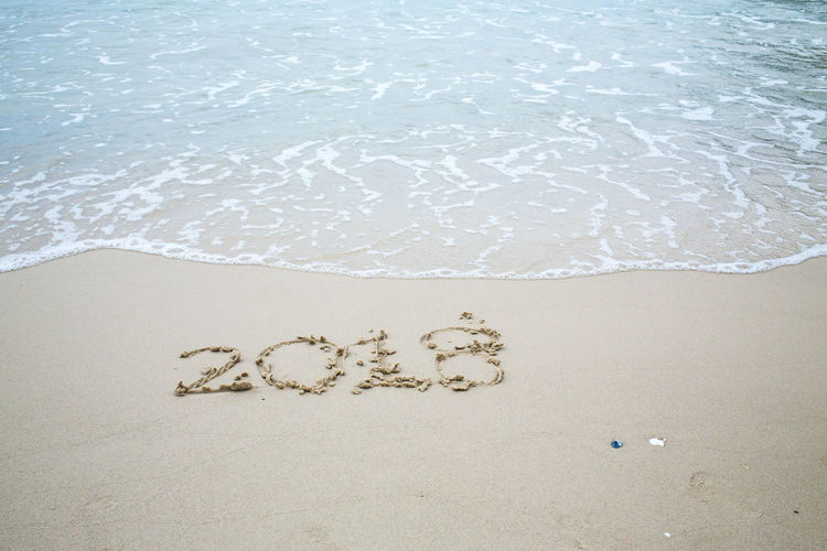 The number 2018, lettering in the sand on beach, Thailand Beach 2018 2018 Year 2018 New Year Celebration Christmas Copy Space Creativity Letters Nature Text Thailand Writing Beach Calendar Close-up Communication Handwriting  High Angle View Island Lettering Message Sand Sea Seascape Year