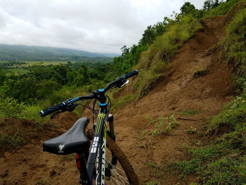 Mountainbike Enduro Trail Ride Downhill/ Freeride MTB Biking Bike Trail Cross Country Mountain Biking Enduromtb Enduroforlife AMbiking Suntour Trinx Taking Photos Rice Paddy Photoride Sixpack Trail Philippines Outdoors Nature Clouds Beauty In Nature
