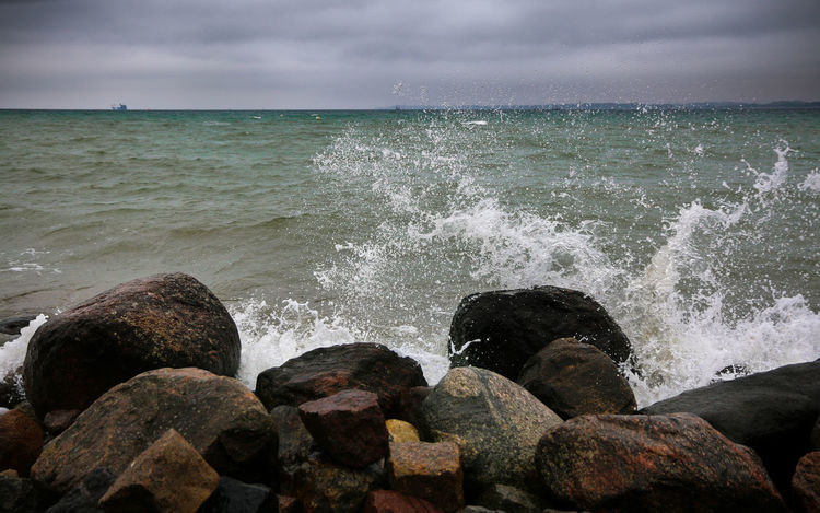 Brodtener Ufer Sea And Sky Water Splash Stones