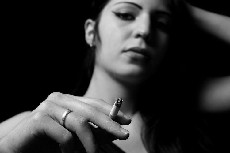 Model Monochrome Smoking Portrait ... tribute to Amy...