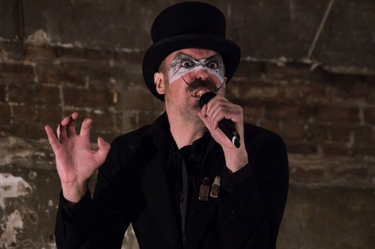Paul Puppet singing, the message? F*ck it and Dance! From The Big Variete at the Panopticon Musichall June 24th 2015 Britannia Panopticon Burlesque Caba Cabaret Close-up Costume Facepaint Glasgow  GLASGOW CITY Headshot Landscape Male Moustache Musichall  People Performance Portrait Scotland Sing Theatre Top Hat Variation