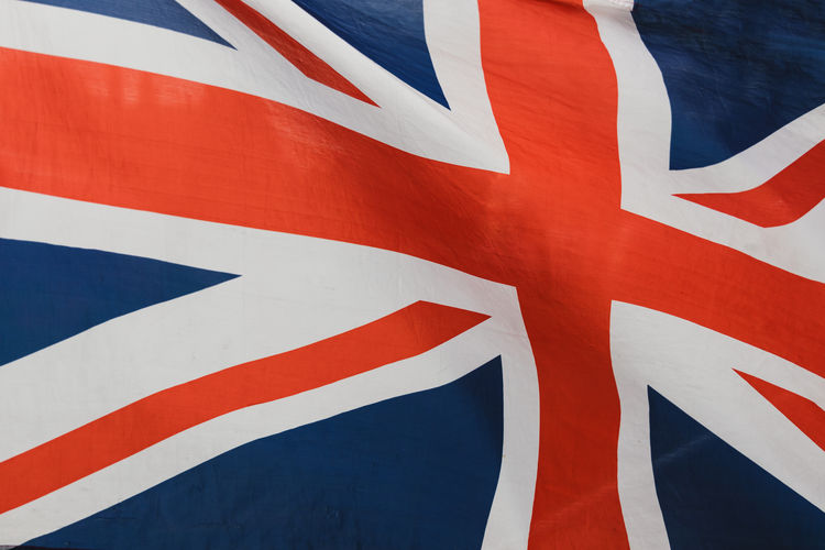 Union Jack British flag flying at Brexit protest in Westminster, London Brexit Protest Flag Union Jack British Britain London Westminster Patriotism White Color Red Full Frame Striped Blue Pattern Independence National Icon Flying Wind European  Pride Politics