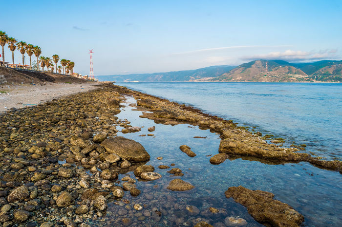 Beauty In Nature Messina Sicily Italy Pilone Strait Of Messina Sea sea and sky Sky Water Tranquil Scene Outdoor Nature Calm Rocks
