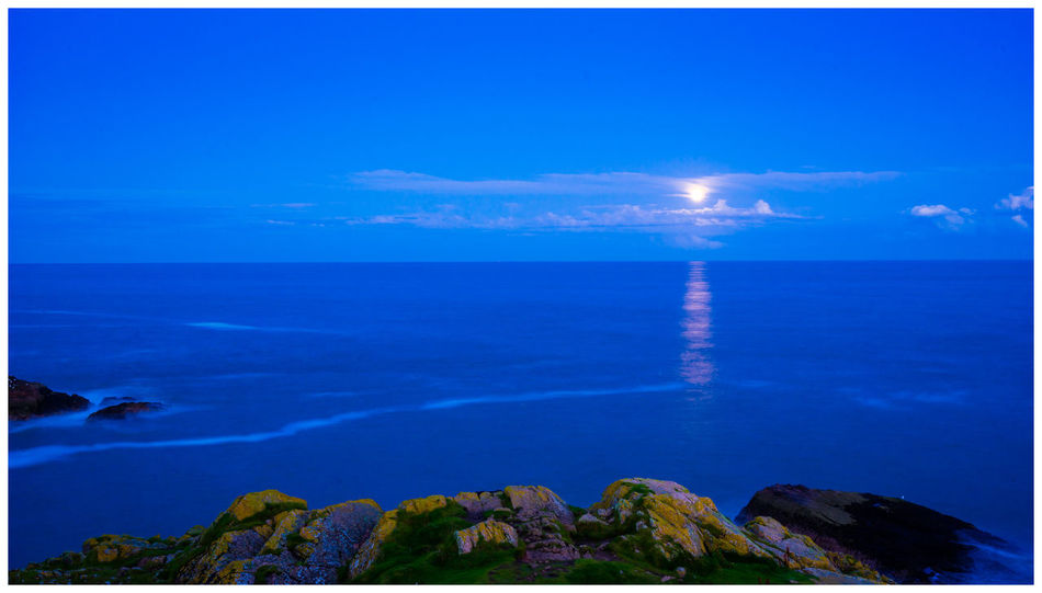 Aberdeenshire Cruden Bay Gold Moon Rock Formation Scotland Tranquility Blue Coast Long Exposure Tranquil Scene Water