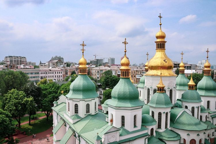 Ukraine Kyiv Kiev Building Exterior Built Structure Architecture Dome Sky Religion Cloud - Sky Belief Building Place Of Worship Spirituality City No People Travel Destinations Nature Day Spire  Outdoors Ornate #urbanana: The Urban Playground My Best Travel Photo