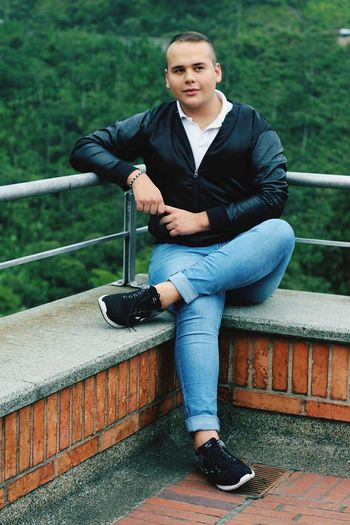 Full Length Portrait Sitting City Casual Clothing