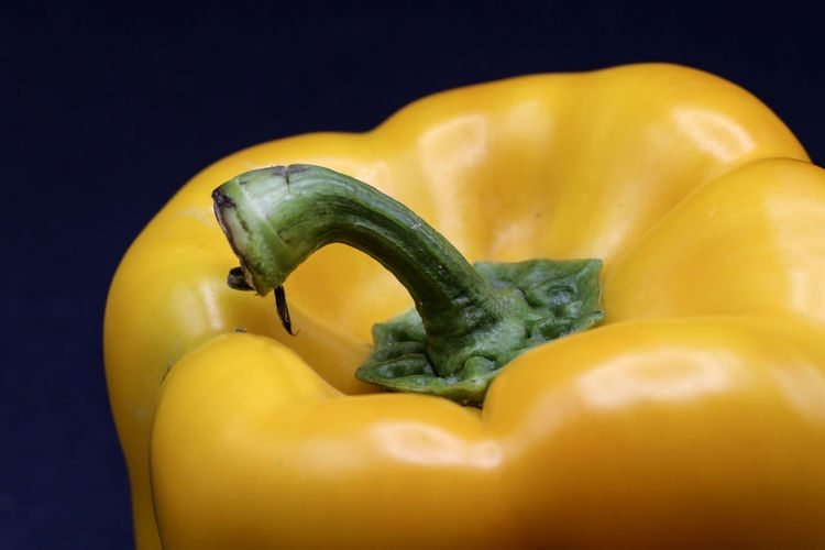 Close-up of yellow bell pepper against black background