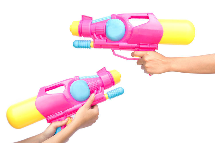 Holding Human Hand Plastic Playing Summer Toy Water Gun White Background