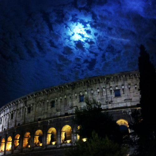 Clouds Moon Roma Colosseum
