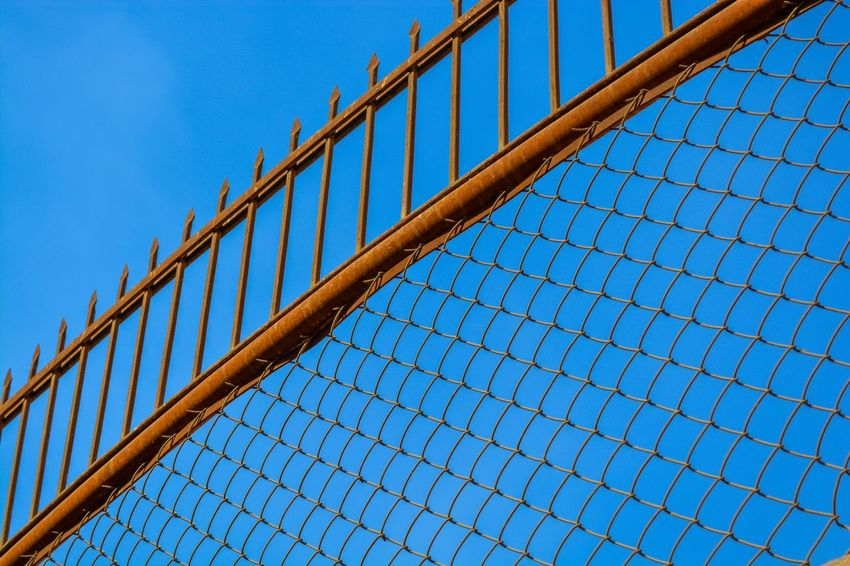 Fence Abstract Abstract Photography Architecture Bar Barrier Blue Building Exterior Built Structure City Clear Sky Day Fence Iron - Metal Low Angle View Modern No People Outdoors Partition Sky The Week Of Eyeem EyeEm Best Shots Break The Mold