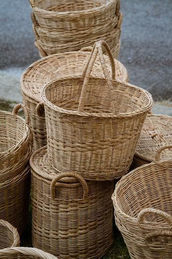 Stack of wicker basket