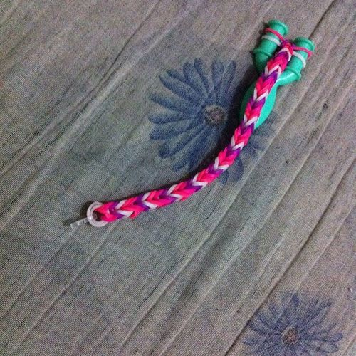 First loom band bracelet..of course, for besfie :)) Loomband Bracelet Fishtailstyle