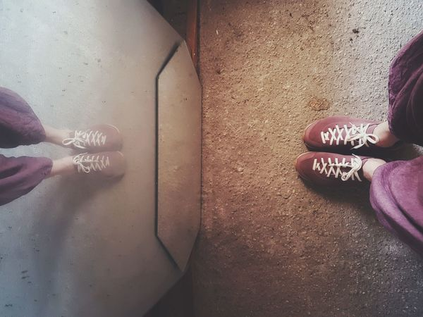 | Me, myself and my shoes | Pink Power Old Mirror Reflection EyeEmItaly Low Section Close-up Foot Personal Perspective Canvas Shoe Human Leg Leg Shoe The Still Life Photographer - 2018 EyeEm Awards The Fashion Photographer - 2018 EyeEm Awards The Creative - 2018 EyeEm Awards Creative Space