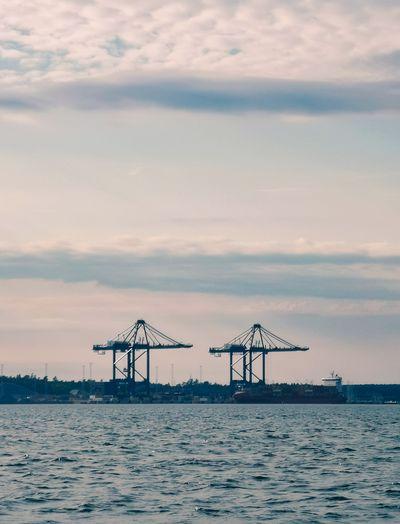 Container cranes in stockholm norvik port