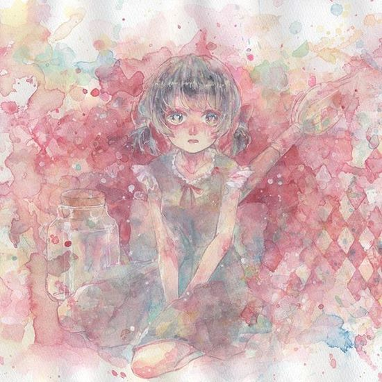 Illustration 絵 Watercolor イラスト Girl 水彩 Art ArtWork Drawing Red 赤