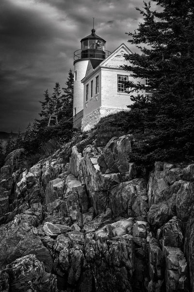 Bass Head Harbor Lighthouse under a cloud sky Bass Harbor Lighthouse Bass Harbor, Maine Architecture Bass Harbor Blackandwhite Blackandwhite Photography Blackandwhitephoto Blackandwhitephotography Building Exterior Built Structure Cloud - Sky Day Lighthouse Low Angle View No People Outdoors Sky Tree