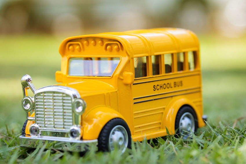 School bus toy in nature. Children End Of Semester Kids Learning Nature Student Bright Bus Car Communication Education Educational Grass Land Vehicle Outdoors Plant School School Holidays School Start Studying Taxi Term Ending Toy Transportation Yellow