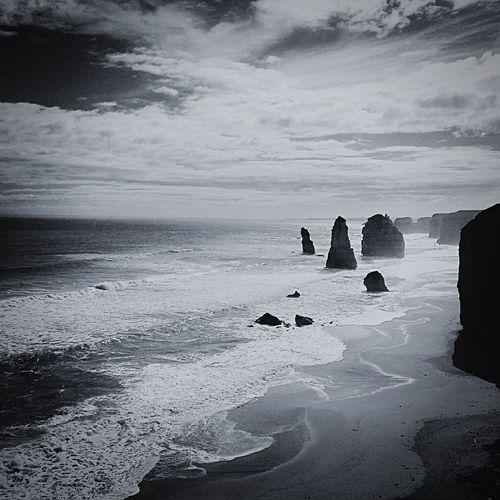 The twelve apostles Australia Oceanroads Twelveapostles Bnw Blackandwhite Black And White Photography