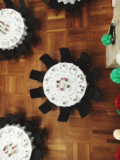 Indoors  Directly Above Table Wedding Celebration Large Group Of Objects Decoration Black Indoor Round Clockwise Restaurant Event High Angle View Man Made Object Freshness Collection