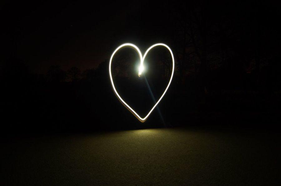 Heart Shape Love Shape No People Night Dark Lights Outdoors Light Painting