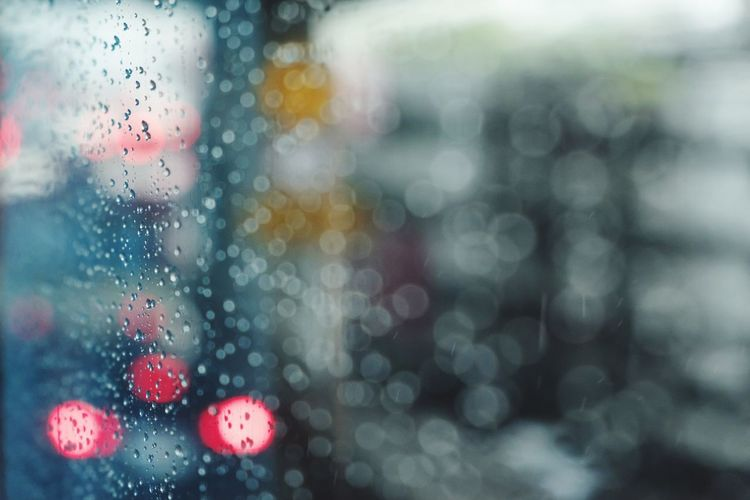Sky Freshness Rain Wet Drop RainDrop Rainy Season Weather Window Water Backgrounds Close-up Spotted Looking Through Window Defocused Land Vehicle Pattern Illuminated