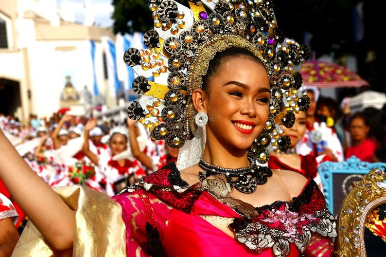 parade participants of the Sumakah Festival in Antipolo City, Philippines dance in the street in their coloful costumes Costume Headwear Gown ASIA Asian  Philippines Filipino Woman Lady Females Beautiful Beautiful Woman Dancer Dancer Dancing Street Dancers Festival Festival Season Fiesta Antipolo, Rizal Ph Sumakah Festival Celebration Tradition