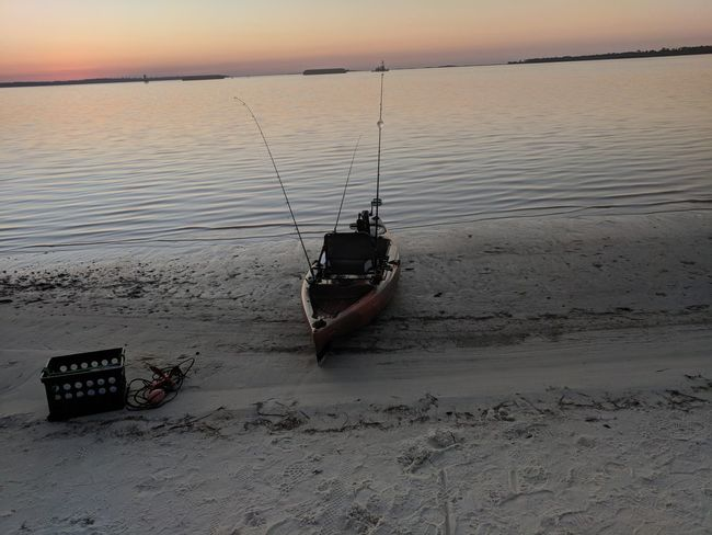 getting ready for a day of fishing Sunset Nautical Vessel Beach Sand Tranquility Sea Transportation
