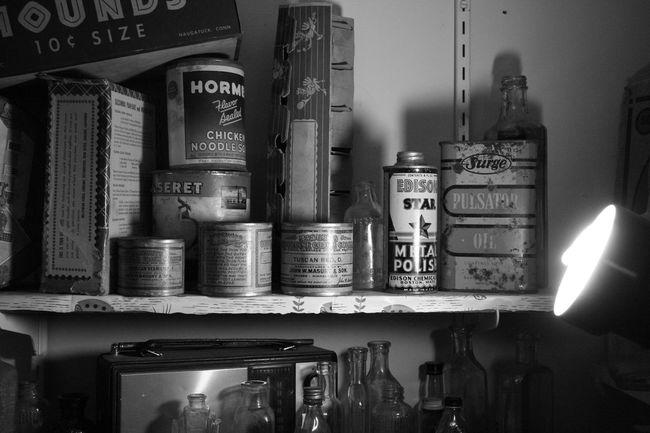 Pantry Blackandwhite Bookshelf Close-up Illuminated Indoors  No People Old-fashioned Pantry Shelves Shelf