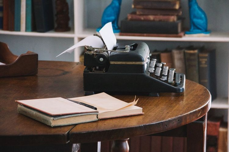 writer's den Alone Author Books Edit Escape Journal Library Novel Old World Old-fashioned Record Revise Seclusion Solitary Solitude Study Table Typewriter Typing Vintage Wood Work Write Writer Writing