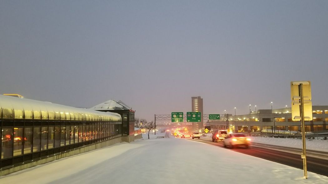 Going home City Illuminated Cityscape Urban Skyline Outdoors No People Sky Night Architecture Building Exterior Snowing Snowstorm Commute Messy Commute Albany NY Albany Bridge To Nowhere Traffic Brake Lights