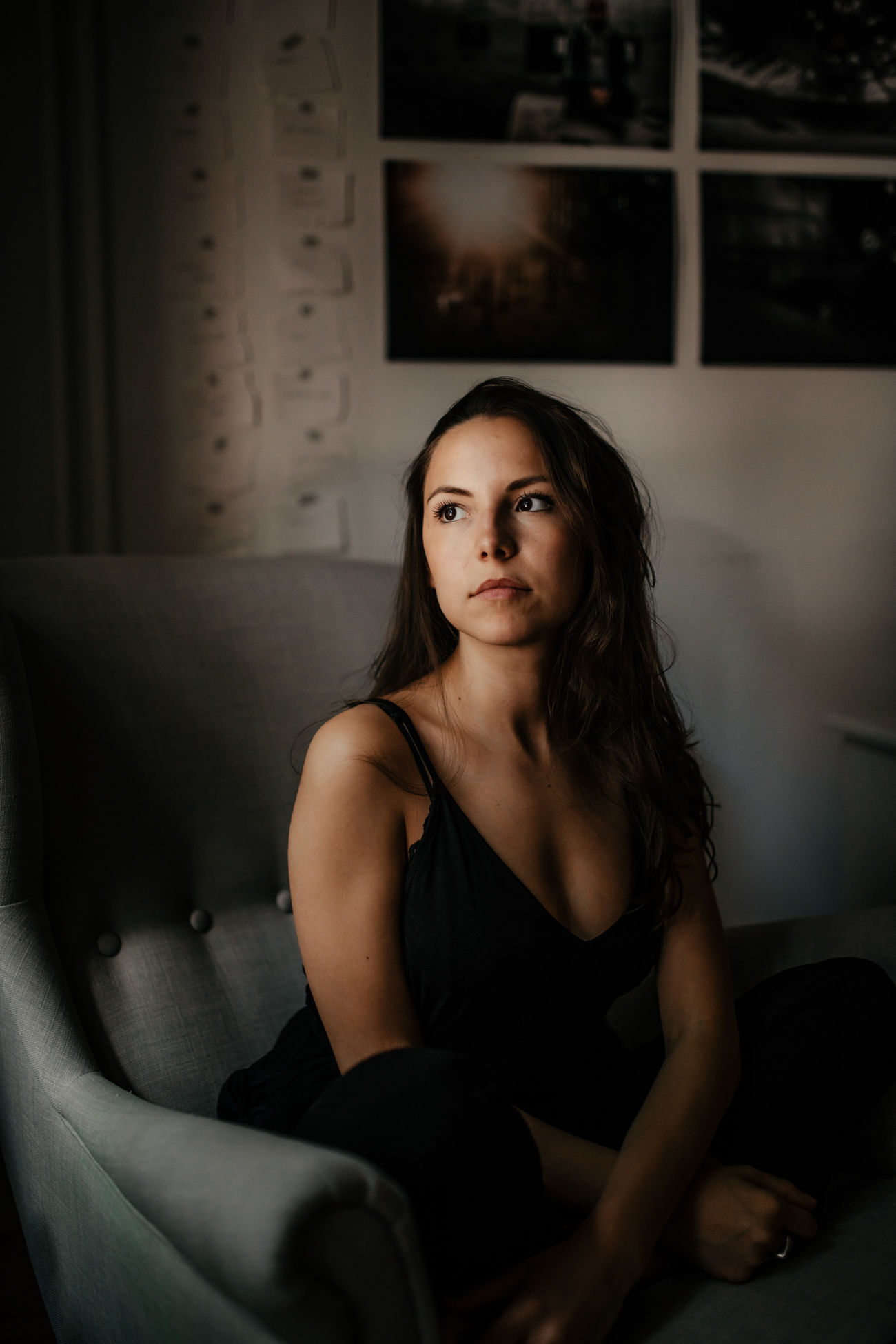 sitting, one person, looking at camera, portrait, beautiful woman