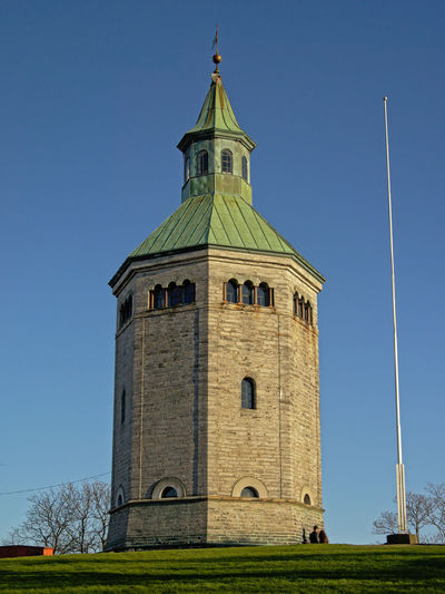 `Valberg` stone watchtower overlooking Stavanger harbor Landmarks Norway Stavanger Norway Tower Bridge  Architecture Clear Sky Day History Low Angle View Medieval Middle Ages No People Outdoors Scandinavian Sky Stone Material Valberg Kirke Valbergtårnet Watchtower