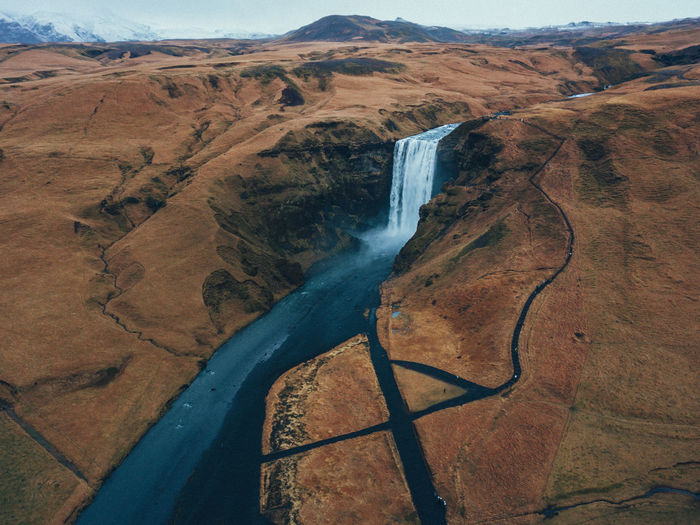 Scenics - Nature Environment Landscape Beauty In Nature Non-urban Scene Water No People Day Land Nature Tranquil Scene Motion Mountain River High Angle View Tranquility Aerial View Outdoors Flowing Water Idyllic Iceland Drone