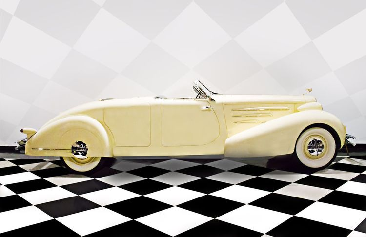 1934 Cadillac custom roadster Car Mode Of Transport Tiled Floor Racecar Luxury Wheel Land Vehicle Checked Pattern Indoors  Tire Auto Racing Stationary No People Sports Race Day Custom Cars Vintage Style Vintage Cadillac Roadster