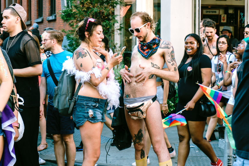 Pictures are taken during the 2017 pride parade in NYC. City Life Colorful Colors Daylight Lgbt Lgbt Pride People People Photography Pride Pride Flag Pride March Pride Parade Prideparade Prideparade2017 Public Space Street Art Street Photography Streetphotography Walking Around The City  Walking People Young Adult