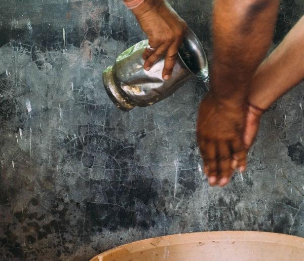 Ayurveda Day Handwashing Human Foot Human Limb India Lifestyles Limb Low Section Men Person Ritual Ritual Washing