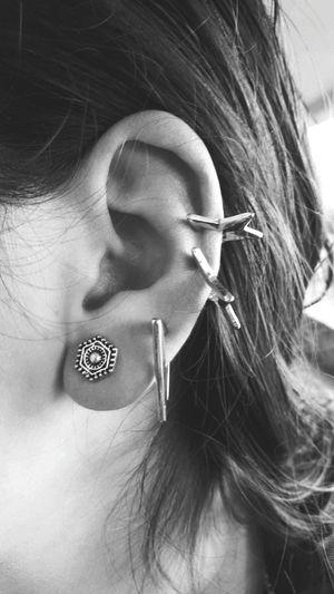 Young Women Fashion Long Hair Jewelry Close-up Human Ear Earring  Eyebrow Jewellery