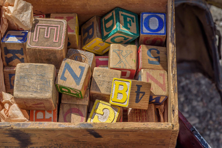 Wood crate of old wood toy blocks with alphabet letters and numbers painted on Selective Focus No People Macro Photography Macro Vintage Toys Childhood Teaching Abcs Wood - Material Retro Antique Nostalgic  Old-fashioned Kids Toys Tattered Weathered Wood Outdoors Day