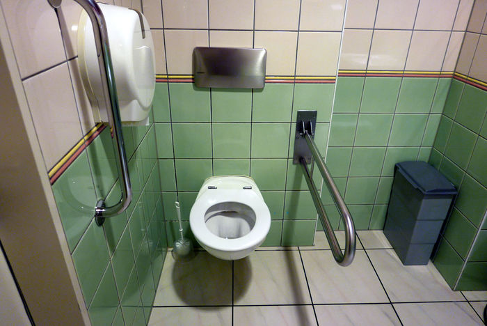Absence Bathroom Disabled Domestic Bathroom Domestic Room Empty Hygiene Modern No People Pipe - Tube Tile Tiled Floor Toilet Toilet Bowl White