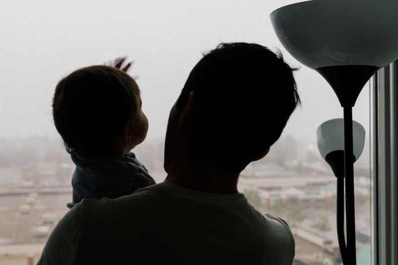 Rear view of young father and toddler against window
