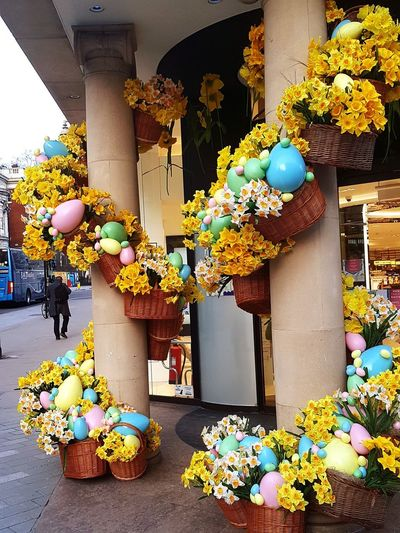 Easter spring flowers Springtime Spring Spring Flowers Easter Easter Eggs Daffodil Yellow Colours Multi Colored Balloon Tradition Architecture Shop Display Retail Display Easter Egg