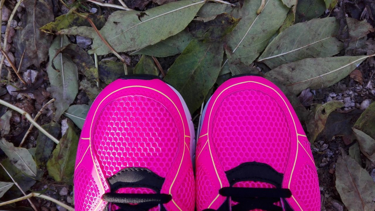 shoe, pair, high angle view, day, pink color, human leg, low section, one person, outdoors, close-up, people