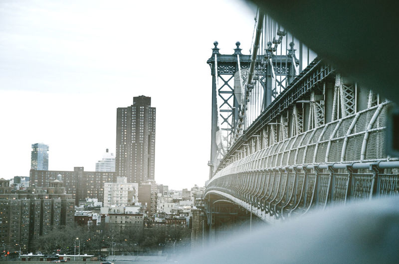 A picture taken on the Manhattan Bridge in New York. Architecture Architecture Beautiful Building Exterior Built Structure City Cityscape Cool Day Light Manhattan Manhattan Bridge Metal Modern New York New York City No People Outdoors Sky Sky And Clouds Skyscraper Sunset Water
