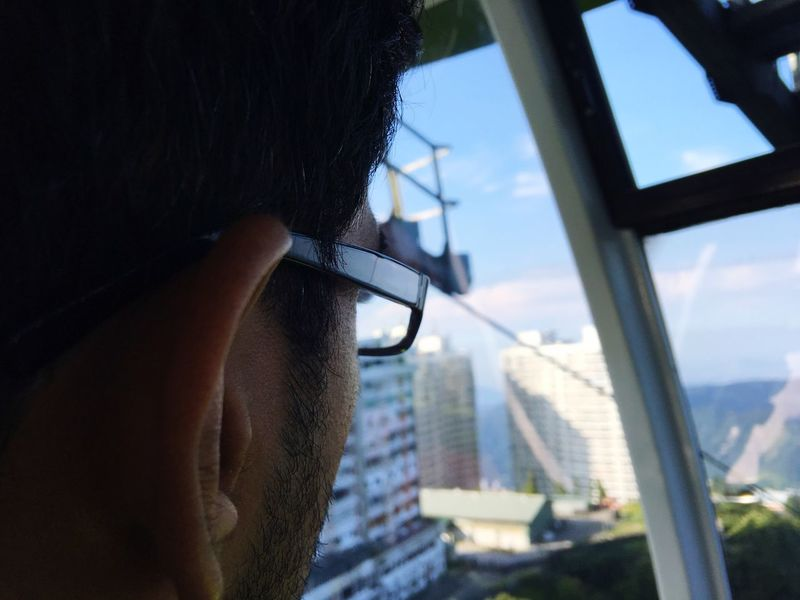 People And Places Ropeway Window Glass - Material Transparent Side View Looking Through Window Holding Day Sky Profile Looking Specs EyeEm