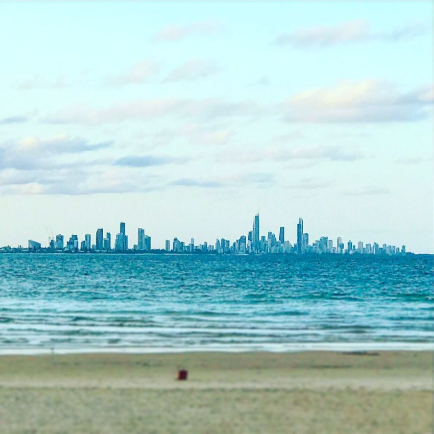 GOLDCOAST SURFERSPARADICE Sea Beach Sky Building Exterior Water Architecture Built Structure City Outdoors Cloud - Sky Skyscraper Nature Shore Cityscape No People Beauty In Nature Sand Urban Skyline Day Scenics