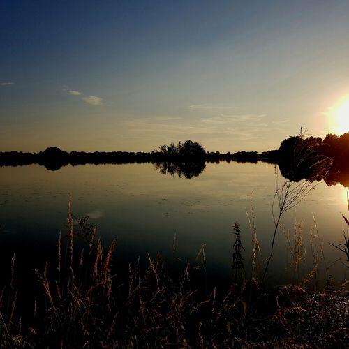 Reflection Lake Water Sunset Sky Outdoors Mobilephotography Galaxys8 No People Gora Powiat Pszczynski